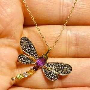 14k gold over silver & genuine gemstones NECKLACE
